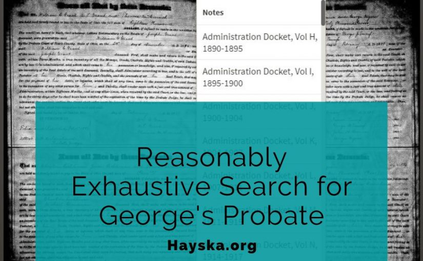Reasonably Exhaustive Search for George's Probate